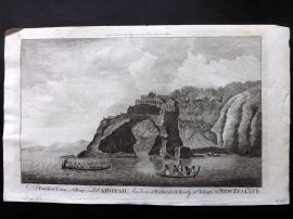 Cook, Anderson, Hogg 1784 Print. Fortified Town, A Hippah, Tolaga, New Zealand